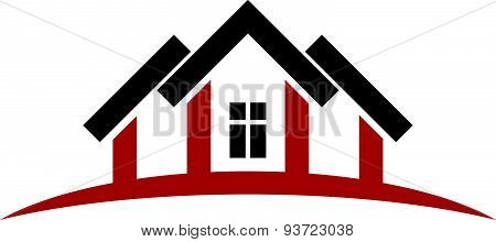 Abstract houses with horizon line. Can be used in advertising. Re