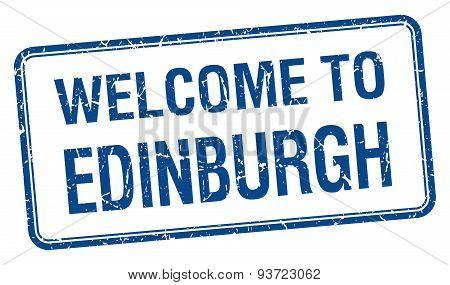 Welcome To Edinburgh Blue Grunge Square Stamp