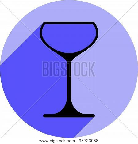 Lifestyle idea conceptual symbol, classic champagne glass isolated on white. Alcohol design element