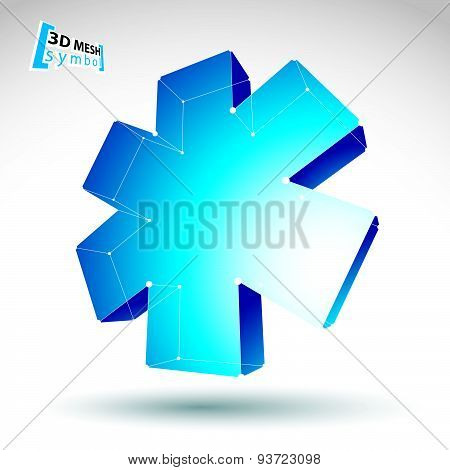3d mesh web blue ambulance icon isolated on white background. Colorful lattice medicine symbol, tech
