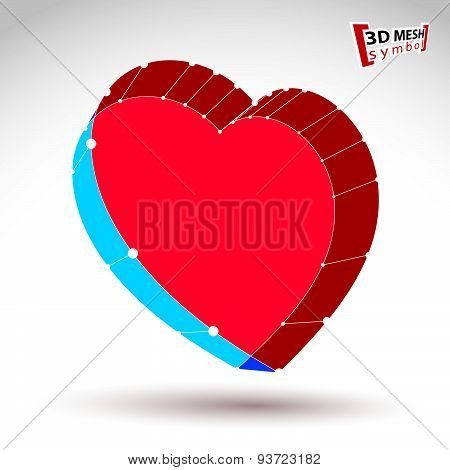3d mesh stylish web red love heart sign isolated on white background, colorful loving heart