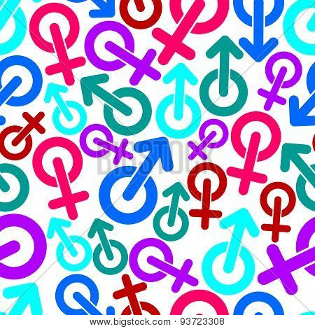 Gender vector symbols, sexual category theme seamless backdrop. Male and female symbols