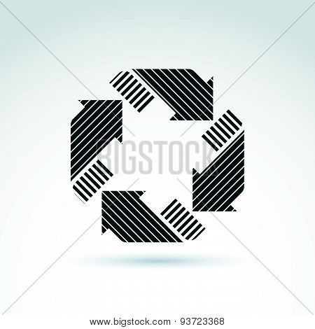 Loop sign, circulation and rotation icon. Vector abstract design element with parallel stripes.