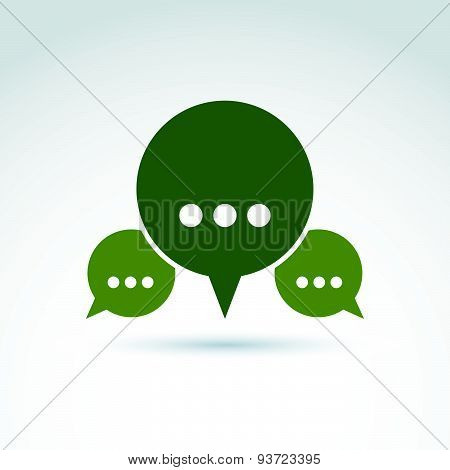 Three speech bubbles with dots, forum and discussion symbol isolated on white background