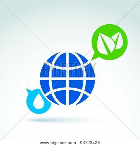 Eco-friendly conceptual symbol, earth, water drop  and speech bubble with two green leaves, abstract