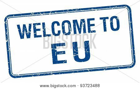 Welcome To Eu Blue Grunge Square Stamp