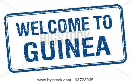 Welcome To Guinea Blue Grunge Square Stamp