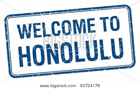 Welcome To Honolulu Blue Grunge Square Stamp