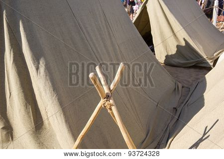 Military Tent Camp At Historic Festival