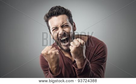 Angry Man Shouting Out Loud
