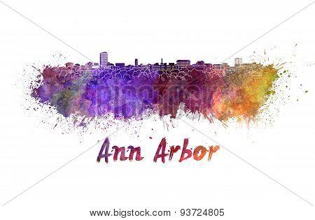 Ann Arbor Skyline In Watercolor