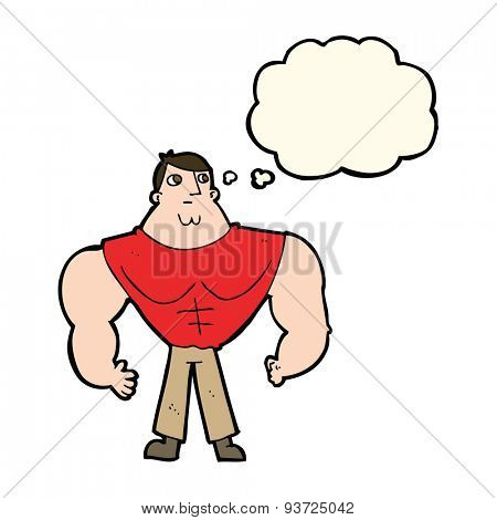cartoon body builder with thought bubble