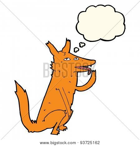 cartoon fox licking paw with thought bubble