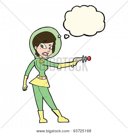 cartoon sci fi girl with thought bubble