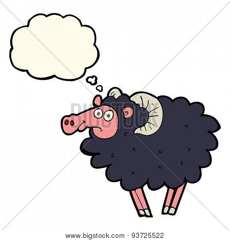cartoon black sheep with thought bubble