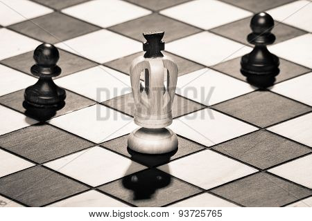 Chess King With Pawns