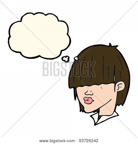 cartoon fashion haircut  with thought bubble