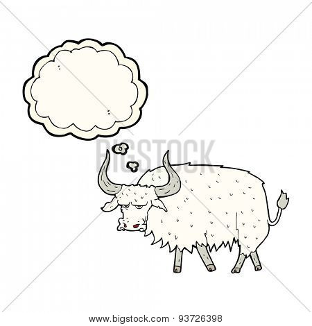 cartoon annoyed hairy ox with thought bubble