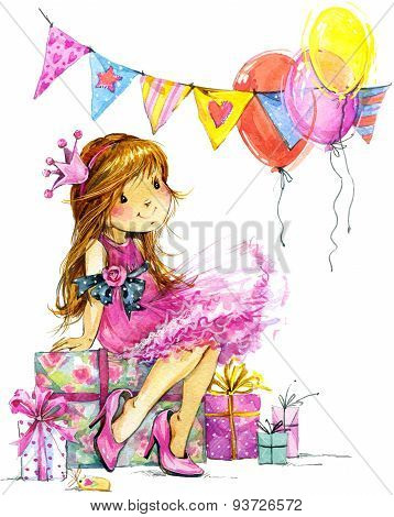 Funny girl and birthday holiday background. watercolor illustration
