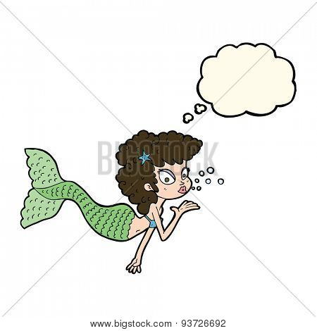 cartoon mermaid blowing kiss with thought bubble