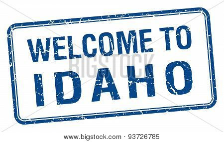 Welcome To Idaho Blue Grunge Square Stamp