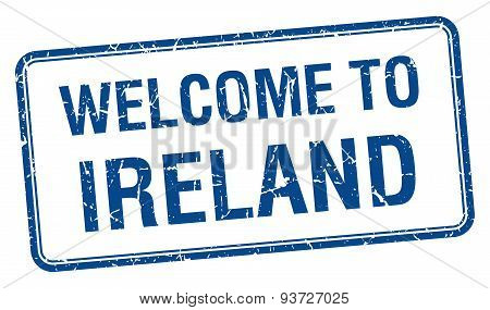 Welcome To Ireland Blue Grunge Square Stamp
