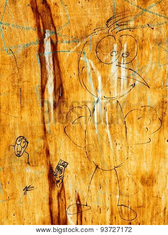Creative Drawings On Old Plywood, Perfect Background For Your Concept Or Project. Landscape Style. G