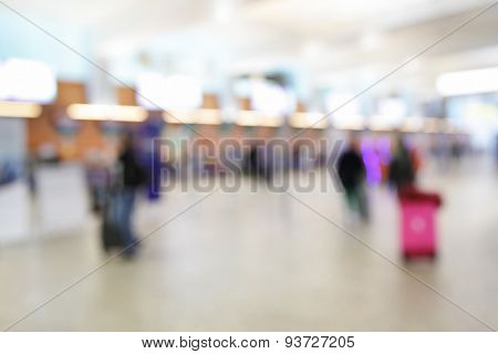 Departure hall in airport - defocused background