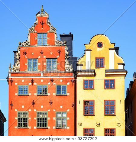 Two the most famous houses on Stortorget place in Stockholm, Sweden