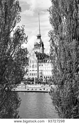 View of Old Town (Gamla Stan) in Stockholm. Black and white image