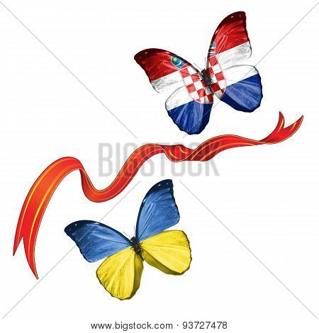 Two butterflies with symbols of Ukraine and Croatia