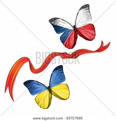 Two butterflies with symbols of Ukraine and Czech Republic