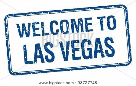 Welcome To Las Vegas Blue Grunge Square Stamp