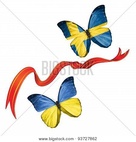 Two butterflies with symbols of Ukraine and Sweden