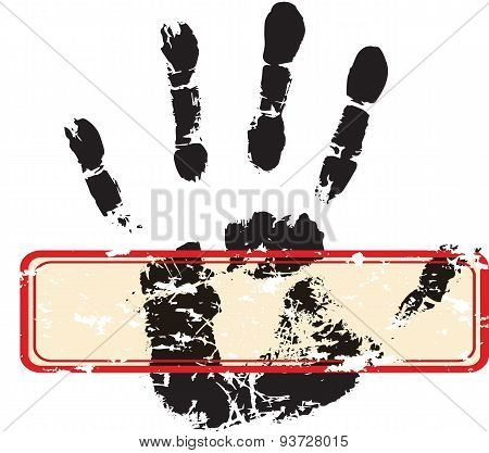 Palm print with red stamp on white background