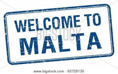 Welcome To Malta Blue Grunge Square Stamp