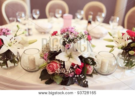 Beautifully Decorated Wedding Table With Flowers