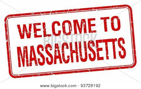 Welcome To Massachusetts Red Grunge Square Stamp