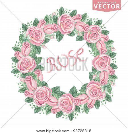 Watercolor pink roses wreath,Cute vintage flowers.eps