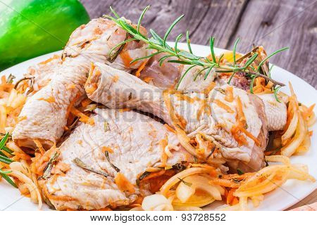 Raw Chicken Stuffed With Herbs And Vegetables