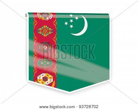 Flag Label Of Turkmenistan