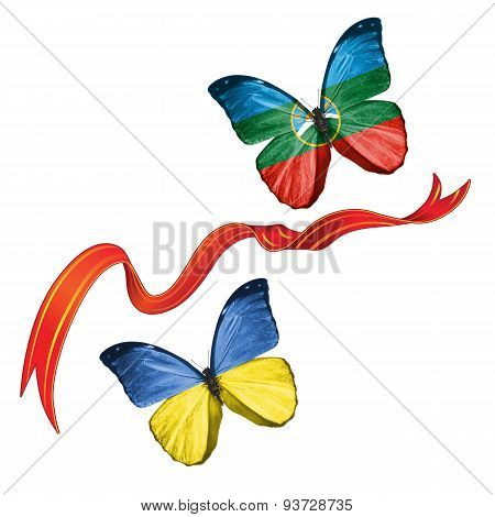Two butterflies with symbols of Ukraine and Republic of Karachay-Cherkessia (Russia)