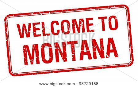 Welcome To Montana Red Grunge Square Stamp