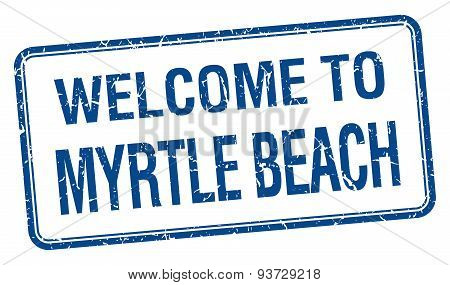 Welcome To Myrtle Beach Blue Grunge Square Stamp
