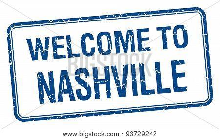 Welcome To Nashville Blue Grunge Square Stamp
