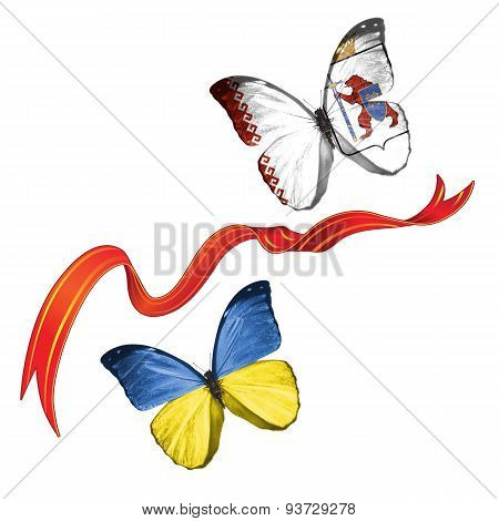 Two butterflies with symbols of Ukraine and Mari El (Russia)