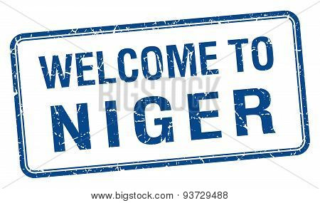 Welcome To Niger Blue Grunge Square Stamp