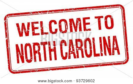 Welcome To North Carolina Red Grunge Square Stamp