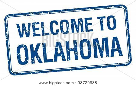 Welcome To Oklahoma Blue Grunge Square Stamp