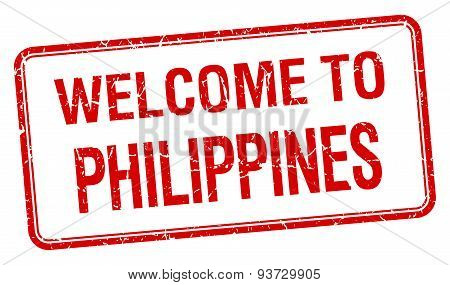 Welcome To Philippines Red Grunge Square Stamp
